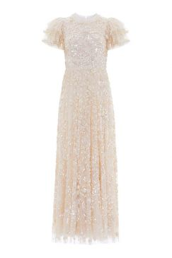 SHIRLEY RIBBON ANKLE LENGTH GOWN :NEEDLE AND THREAD:CHAMPAGNE