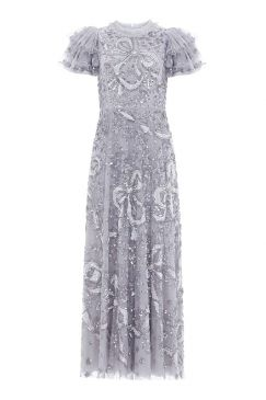 SHIRLEY RIBBON ANKLE LENGTH GOWN :NEEDLE AND THREAD:CRYSTAL BLUE/SILVER